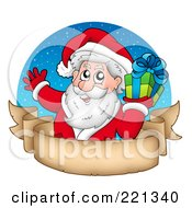 Royalty Free RF Clipart Illustration Of Santa Holding A Gift Over A Blank Parchment Banner And Blue Circle