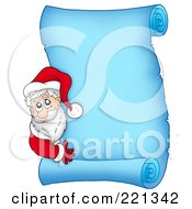 Royalty Free RF Clipart Illustration Of Santa Looking Around The Side Of A Frozen Blue Parchment Scroll Page