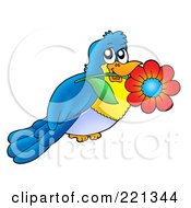 Royalty Free RF Clipart Illustration Of A Blue Bird Holding A Flower In His Mouth