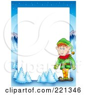 Royalty Free RF Clipart Illustration Of A Christmas Frame Border Of An Elf With A Winter Landscape Around White Space