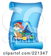 Royalty Free RF Clipart Illustration Of A Christmas Cat On A Frozen Blue Parchment Scroll Page