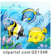 Royalty Free RF Clipart Illustration Of Three Marine Fish By A Reef 2