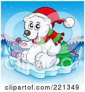 Royalty Free RF Clipart Illustration Of A Polar Bear On Ice With A Tree And Christmas Gifts Over A Winter Landscape by visekart