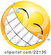 Clipart Illustration Of A Yellow Emoticon Face With Bubbles Grinning With A Giant Toothy Smile