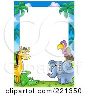 Border Frame Of A Giraffe Vulture Alligator And Elephant Around White Space
