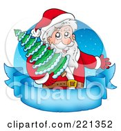 Royalty Free RF Clipart Illustration Of Santa Carrying A Tree Over A Blank Frozen Parchment Banner And Blue Circle
