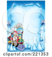 Santa Driving A Train By A Frozen Blue Parchment Sign With Snow Flocked Trees