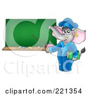 Royalty Free RF Clipart Illustration Of A Professor Elephant Pointing To A Blank Chalkboard