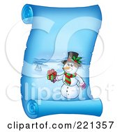 Royalty Free RF Clipart Illustration Of A Snowman Holding A Gift On A Frozen Blue Parchment Scroll Page