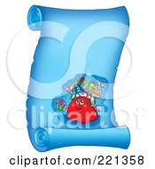 Royalty Free RF Clipart Illustration Of Santas Sack On A Frozen Blue Parchment Scroll Page