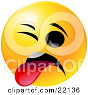 Clipart Illustration Of A Yellow Emoticon Face With One Eye Closed Sticking Its Tongue Out In Disgust