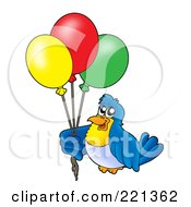 Royalty Free RF Clipart Illustration Of A Blue Bird Holding Party Balloons