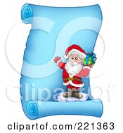 Royalty Free RF Clipart Illustration Of Santa Standing On Ice And Holding A Gift On A Frozen Blue Parchment Scroll Page