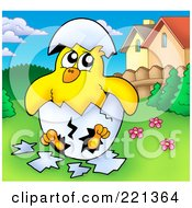 Royalty Free RF Clipart Illustration Of A Hatching Chick In A Yard