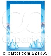 Royalty Free RF Clipart Illustration Of A Christmas Frame Border Of A Winter Landscape Around White Space