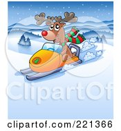 Royalty Free RF Clipart Illustration Of A Red Nosed Reindeer Riding A Snowmobile In A Winter Landscape
