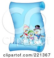 Royalty Free RF Clipart Illustration Of A Snowman Family On A Frozen Blue Parchment Scroll Page