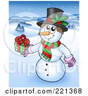 Royalty Free RF Clipart Illustration Of A Christmas Snowman Wearing A Top Hat And Holding A Gift In A Winter Landscape