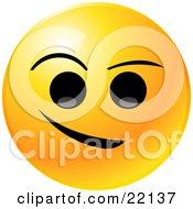 Yellow Emoticon Face With Big Black Eyes And Eyebrows With A Crooked Smile