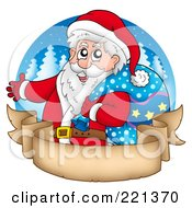 Royalty Free RF Clipart Illustration Of Santa Carrying A Sack Over A Blank Parchment Banner And Blue Circle