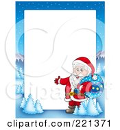 Royalty Free RF Clipart Illustration Of A Christmas Frame Border Of Santa Presenting With A Sack With A Winter Landscape Around White Space