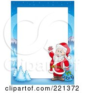 Royalty Free RF Clipart Illustration Of A Christmas Frame Border Of Santa Waving With A Sack With A Winter Landscape Around White Space
