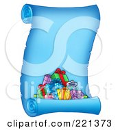 Royalty Free RF Clipart Illustration Of A Pile Of Christmas Presents On A Frozen Blue Parchment Scroll Page