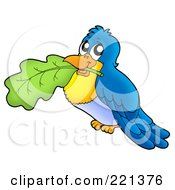 Royalty Free RF Clipart Illustration Of A Blue Bird Holding A Leaf In His Mouth