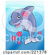 Royalty Free RF Clipart Illustration Of A Cute Female Dolphin With Pink Flowers by visekart