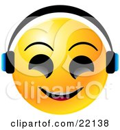 Clipart Illustration Of A Yellow Emoticon Face With Big Black Eyes Smiling And Wearing Headphones Listenting To Tunes