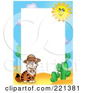 Royalty Free RF Clipart Illustration Of A Desert Cat And Cactus Border Around White Space