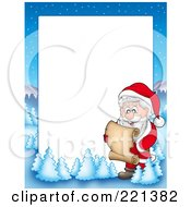 Royalty Free RF Clipart Illustration Of A Christmas Frame Border Of Santa Reading A List With A Winter Landscape Around White Space
