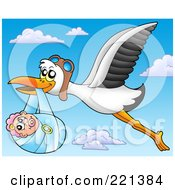 Royalty Free RF Clipart Illustration Of A Flying Stork And Baby In The Sky