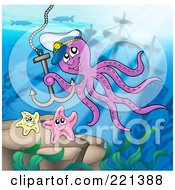 Captain Octopus With An Anchor At The Bottom Of The Sea