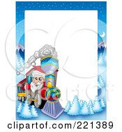 Royalty Free RF Clipart Illustration Of A Christmas Frame Border Of Santa Driving A Train With A Winter Landscape Around White Space