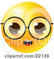 Yellow Emoticon Face With Big Glasses, Staring With An Open Mouth