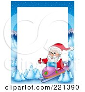 Royalty Free RF Clipart Illustration Of A Christmas Frame Border Of Santa Snowmobiling With A Winter Landscape Around White Space