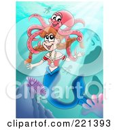 Royalty Free RF Clipart Illustration Of A Happy Mermaid Swimming With An Octopus by visekart