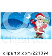 Royalty Free RF Clipart Illustration Of Santa Holding A Gift And Waving In A Winter Landscape