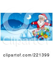 Royalty Free RF Clipart Illustration Of Santa Surrounded By Gifts And Flocked Trees In A Winter Landscape