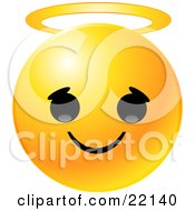 Clipart Illustration Of A Yellow Emoticon Face With An Innocent Expression And A Golden Halo