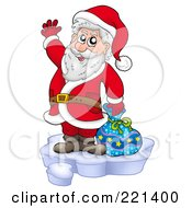 Santa Standing On Ice And Waving by visekart