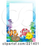 Royalty Free RF Clipart Illustration Of A Frame Of Sea Creatures Around White Space 1