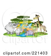 Royalty Free RF Clipart Illustration Of A Busy Watering Hole With African Animals By A Tree