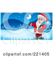 Royalty Free RF Clipart Illustration Of Santa Carrying A Sack And Presenting In A Winter Landscape