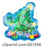 Royalty Free RF Clipart Illustration Of A Christmas Tree Character With Gift Boxes 1