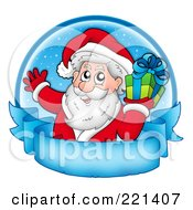 Royalty Free RF Clipart Illustration Of Santa Holding A Gift Over A Blue Circle And Frozen Parchment Banner