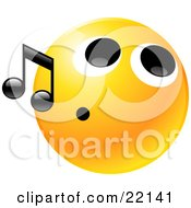 Clipart Illustration Of A Yellow Emoticon Face With A Tight Mouth Whistling Tunes