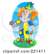 Royalty Free RF Clipart Illustration Of A Clown Holding A Horn And Flower