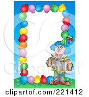 Royalty Free RF Clipart Illustration Of A Border Of Party Balloons Blue Sky And A Clown Around White Space 6